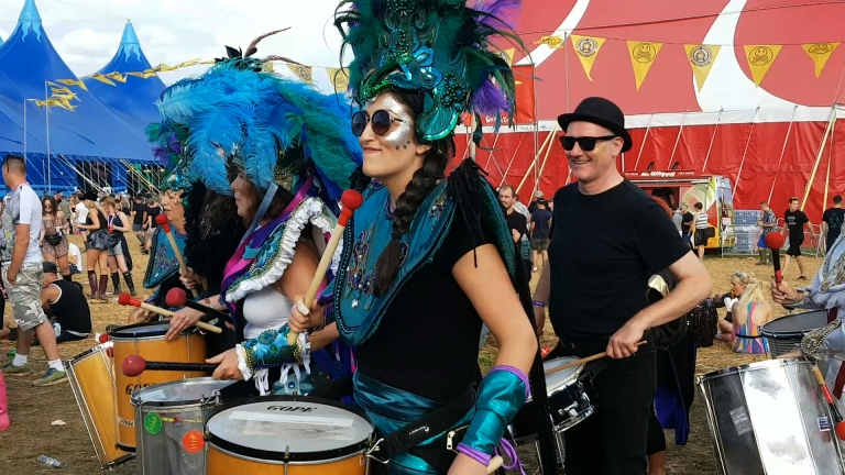 Samba drummers at Creamfields 2016 (photo by Danceclubgirl)